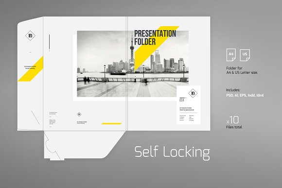 Presentation Folder Template 004 Stationery Templates Creative Market