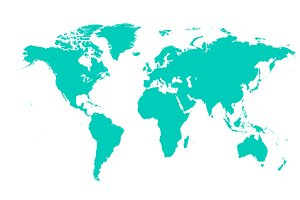 world map flat neon color