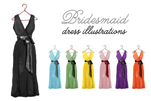 Bridesmaid Dress Illustrations