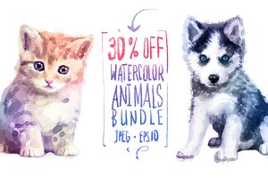 30 off! Watercolor cute animals