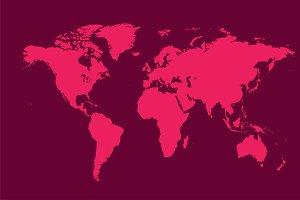 world map pink