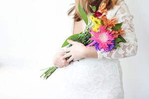 Bride Holding Colorful Flowers 2