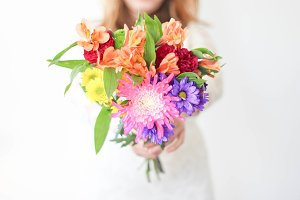 Bride Holding Colorful Flowers 3