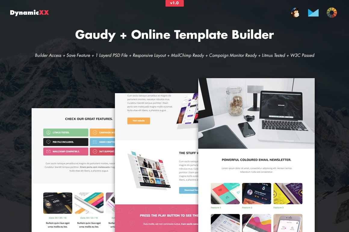 Gaudy + Online Template Builder ~ Email Templates ~ Creative Market