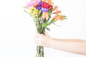 Hands Holding Flowers - Colorful