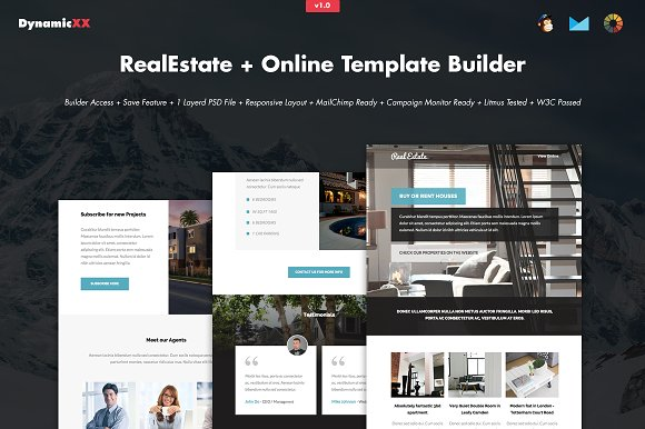 RealEstate + Online Template Builder ~ Email Templates ~ Creative Market