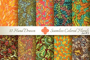 10 Colored Seamless Florals. Set #5