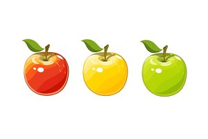 Ripe juicy apple. Set of vector illustration.