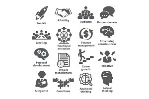 Business management icons. Pack 01.