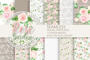 Watercolor roses digital papers