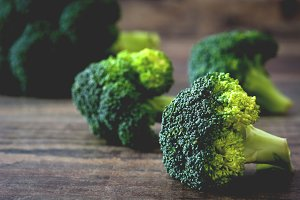 Broccoli on a rustic wood