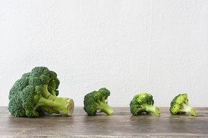 Broccoli on a rustic wood