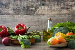 Many vegetables on a rustic wood