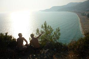 Two tourist enjoying beautiful view
