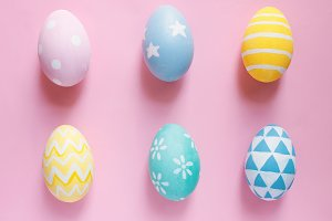 Top view of pastel easter eggs