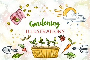 Gardening Illustrations Set