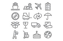 Logistic and Delivery line icons