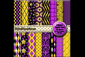 Purple Yellow Embossed Digtial Paper