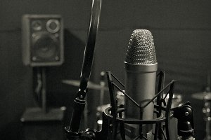 microphone at recording studio