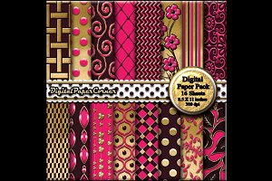 Gold Brown Pink 3D Digital Paper