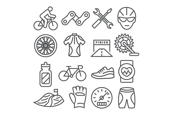 Biking Line Icons