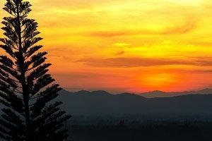 Sunset over mountain