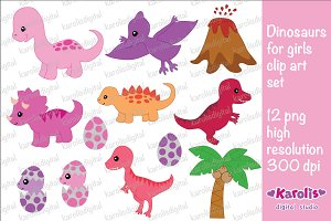Dinosaurs for girls clip art set