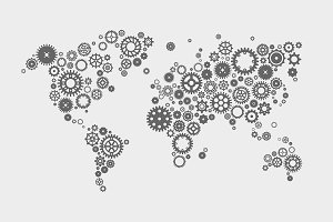 World map made of machine gears