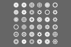 Icon collection of machine gears