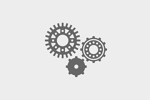 Icon set of machine gear