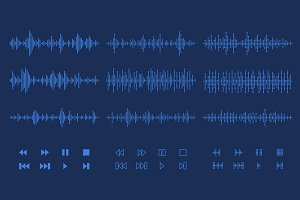Sound waves/audio buttons set