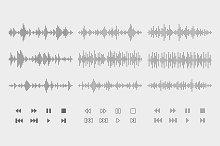 Sound waves/audio buttons set