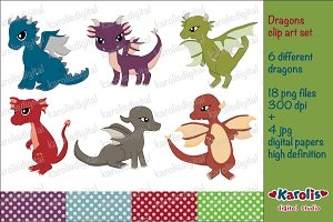 Dragons clip art set