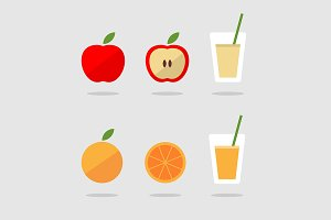 Fresh apple and orange juice