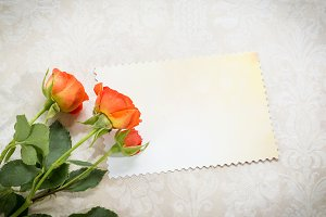 Decorative card and roses