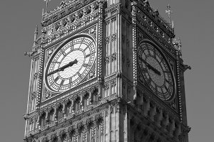 Big Ben London in black and white