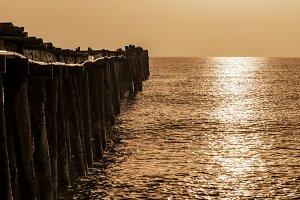Sepia sea at sunrise