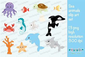Sea animals clip art set