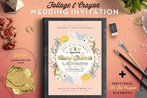 -50% Foil & Crayon Wedding Invite II