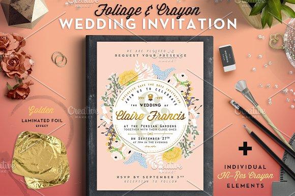 50 foil crayon wedding invite ii invitation templates