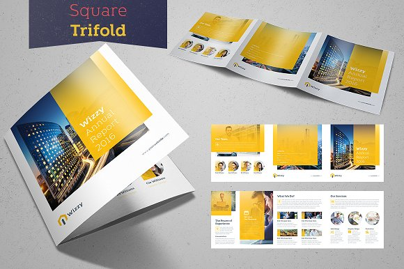 wizzy square trifold brochure templates creative market