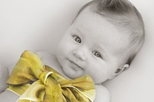 Baby Girl in Chiffon Bow- Coloured
