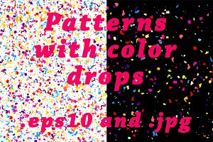 Set of 5 patterns with color drops