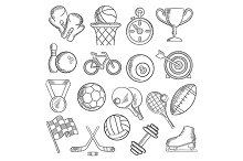 Sport and fitness sketch icons
