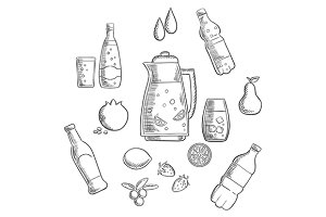Beverages and drinks sketches