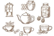 Sketched tea and honey icons