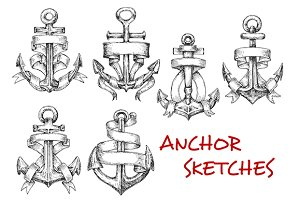 Old heraldic anchors sketches