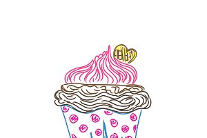 cupcake in sketch style, vector