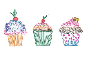 set of cupcakes, vector illustration