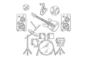 Musical band instruments set